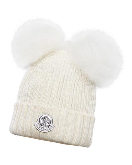 Moncler Kid's Virgin Wool Beanie Hat w/ Fur Pompoms