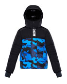 Moncler Arpon Detachable-Hood Quilted Jacket w/ Camo Print,
