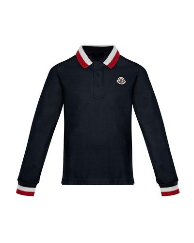 Long-Sleeve Polo Half-Button Shirt, Navy, Size 8-14