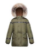 Moncler Boys' Hooded Coat w/ Fox Fur Trim,