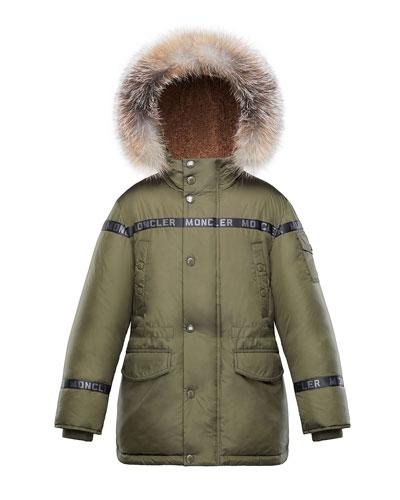 Boys' Hooded Coat w/ Fox Fur Trim, Size 4-6