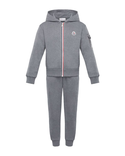Tricolor-Zip Hoodie w/ Matching Sweatpants, Size 8-14