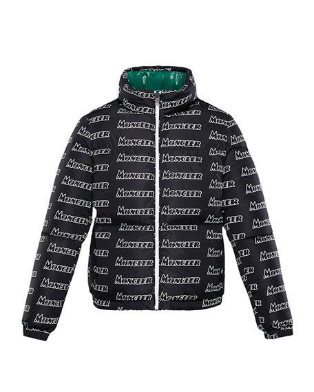 Moncler Neal Logo-Text Puffer Coat, Size 8-14