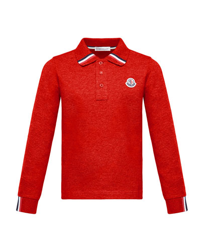 Long-Sleeve Polo Half-Button Shirt, Red, Size 8-14