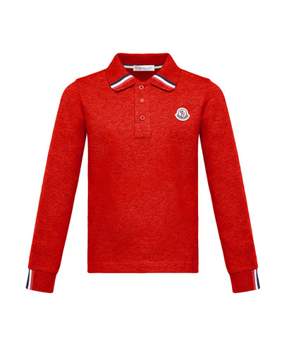 Long-Sleeve Polo Half-Button Shirt, Red, Size 4-6