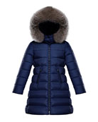 Moncler Abelle Long Quilted Puffer Coat w/ Fur
