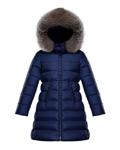 Abelle Long Quilted Puffer Coat w/ Fur Trim, Size 4-6