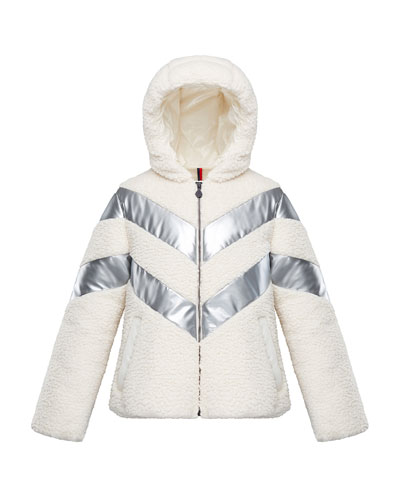Cabourg Chevron-Striped Hooded Coat, Size 4-6