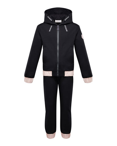 Contrast-Trim Hoodie w/ Matching Sweatpants, Size 4-6
