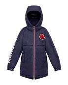 Moncler Airon Hooded Logo-Sleeve Coat, Size 4-6
