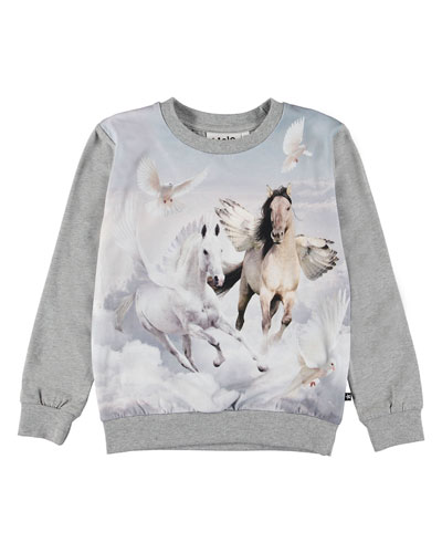 Girl's Regine Winged Horse Print Tee, Size 3-12