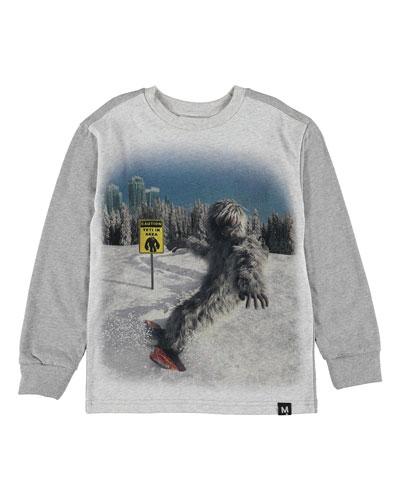 Boy's Risci Snowboarding Yeti Print Tee, Size 4-12
