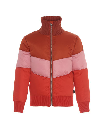 Girl's Hedia Water-Repellant Colorblock Puffer Bomber Jacket, Size 4-16