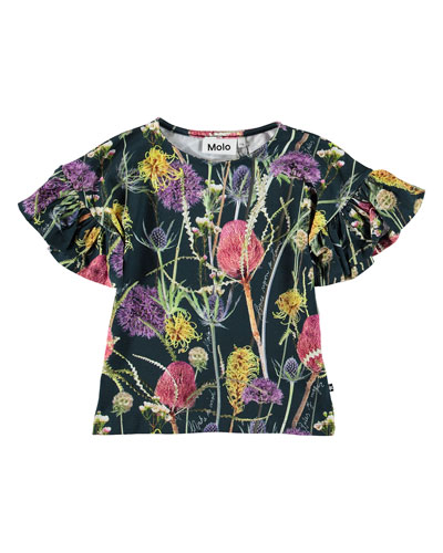 Girl's Rayah Flutter Sleeve Floral Print T-Shirt, Size 3-12