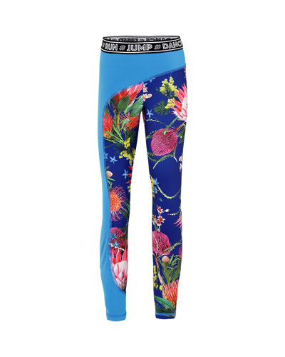 Girl's Olympia Floral Print Full Length Workout Leggings w/ Contrast Panel, ...