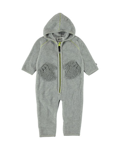 Udo Hooded Fleece Coverall w/ Mitten Pockets, Size 6-18 Months