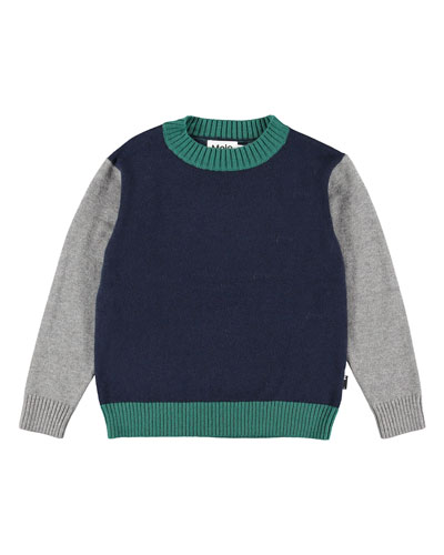 Boy's Buster Colorblock Sweater, Size 3T-12
