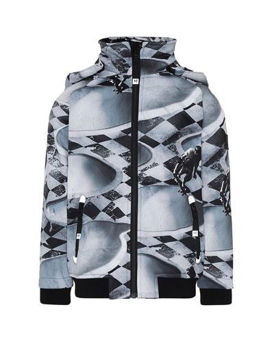 Boy's Cloudy Skateboard Pool Print Waterproof Soft Shell Jacket, Size 4-12