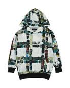 Molo Boy's Romo Checked Snowboard Print Hooded Tee,