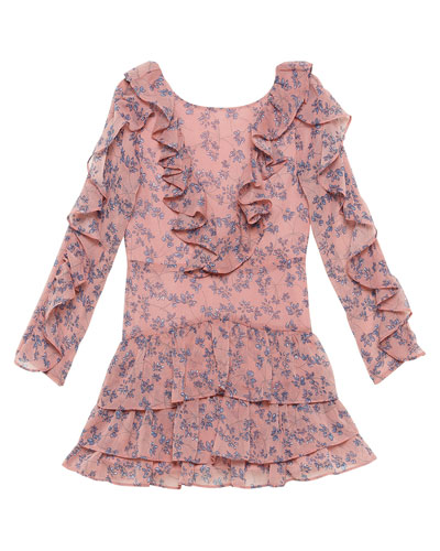 Girl's Alessia Ruffle Floral Print Dress, Size 8-16