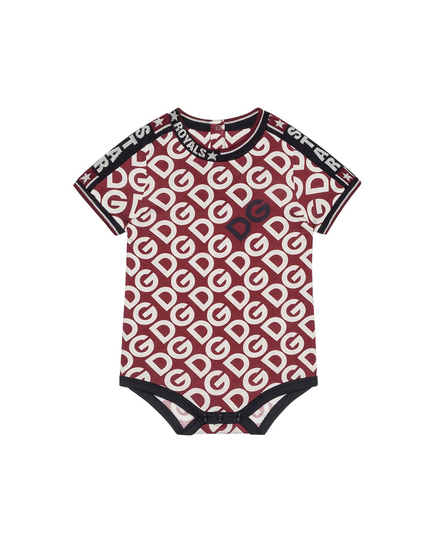 Dolce & Gabbana Kid's Dg Print Bodysuit In Red
