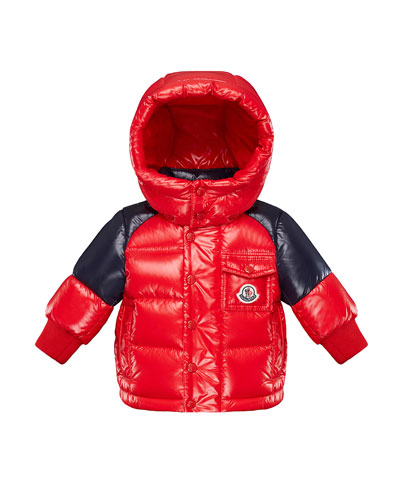 Biarriz Two-Tone Shiny Puffer Coat, Size 12M-3