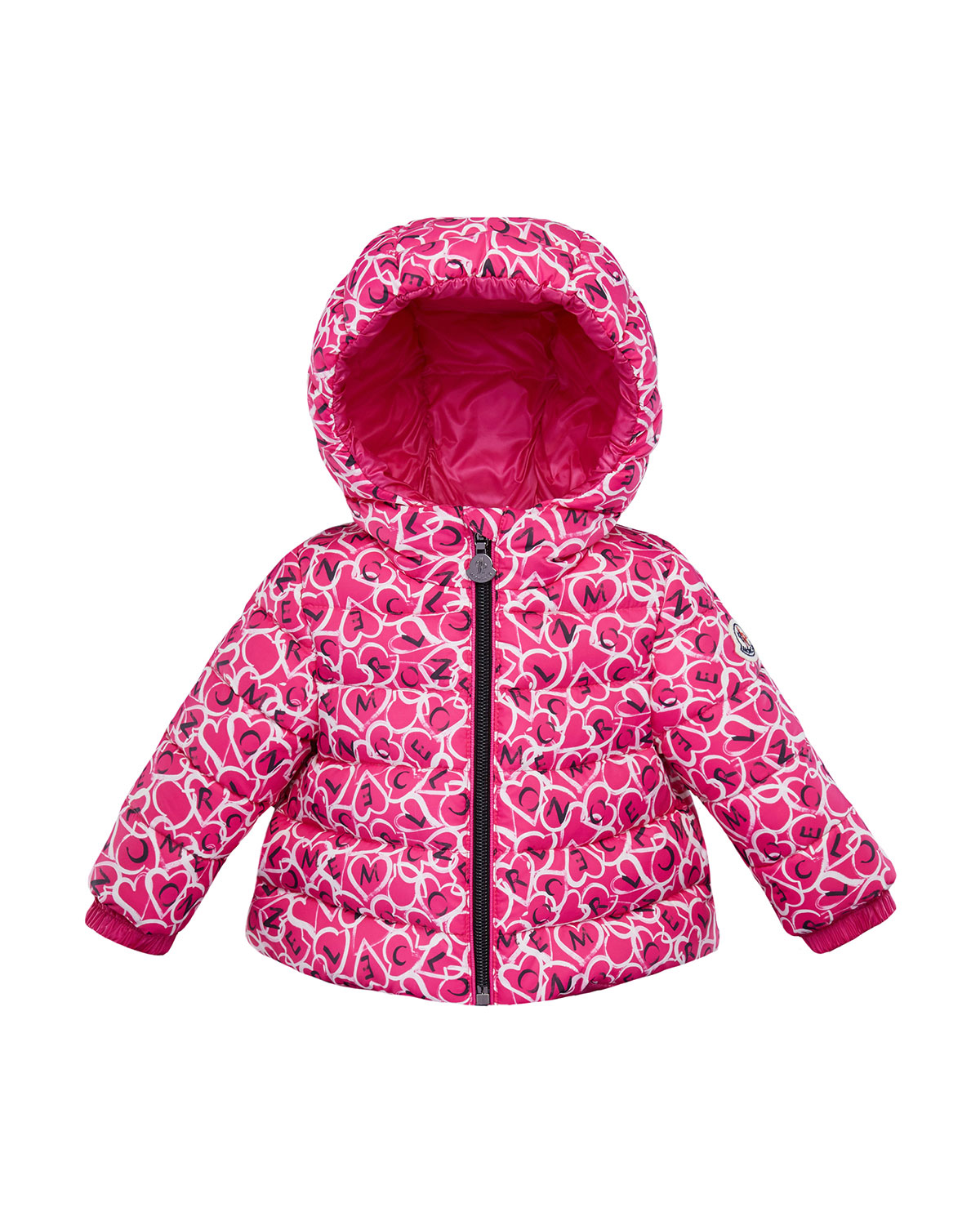 Moncler Girls' Heart & Logo Puffer Coat - Baby, Little Kid In Pink