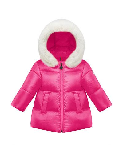 Caen Puffer Coat w/ Contrast Faux-Fur Hood, Size 12M-3
