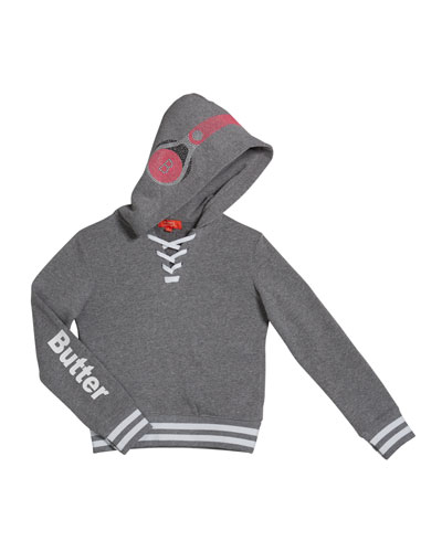 Girl's Dance Mix Studded Hoodie Sweatshirt, Size S-XL