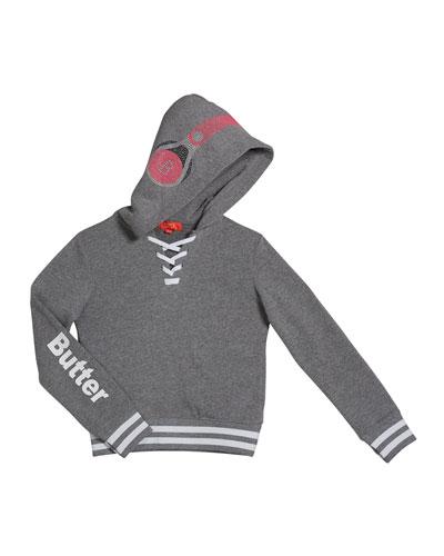 Kid's Dance Mix Studded Hoodie Sweatshirt, Size 4-6