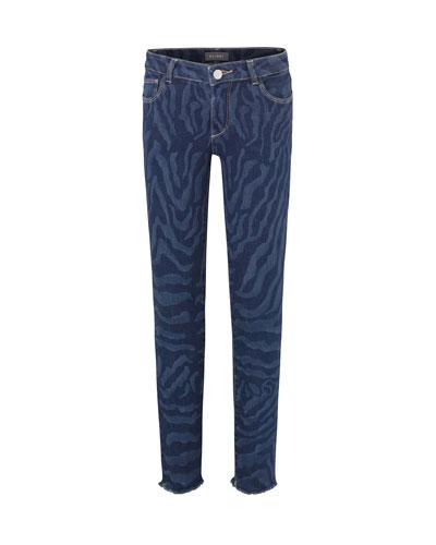 Girl's Chloe Skinny Animal Print Denim Jeans, Size 7-16