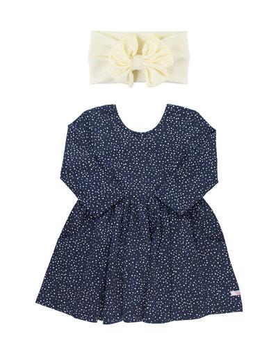 Dot-Print Swirl Dress w/ Bow Headband, Size 3M-3T