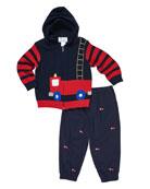 Florence Eiseman Fire Truck Knit Hooded Sweater w/