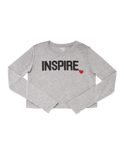 Girl's Inspire Heart Long-Sleeve Cropped Tee, Size S-XL