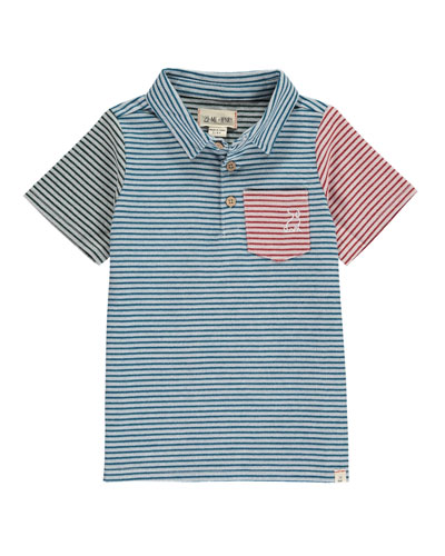Colorblock Striped Woven Polo w/ Children's Book, Size 0-24 Months