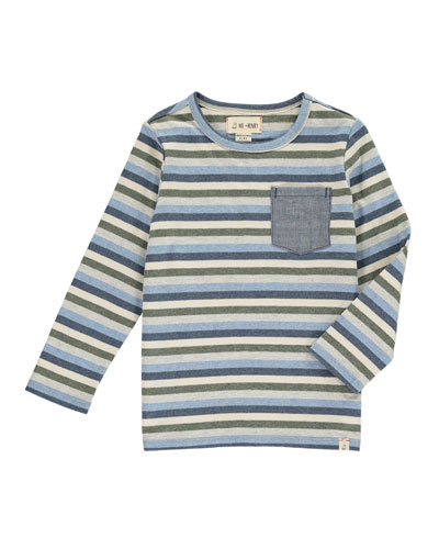 Multi-Stripe Long-Sleeve Tee w/ Children's Book, Size 2T-10