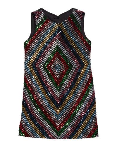 Girl's Rainbow Stripe Sequin Mitered Dress, Size 4-6