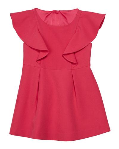 Short-Sleeve Ponte Ruffle Dress, Size 4-6