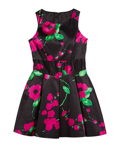 Painted Floral Scoop-Neck Sleeveless Dress, Size 7-16