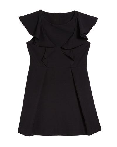 Short-Sleeve Ponte Ruffle Dress, Size 7-16