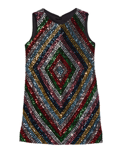 Girl's Rainbow Stripe Sequin Mitered Dress, Size 7-16