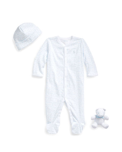 Printed Footie Pajamas w/ Baby Hat & Bear, Size 3-9 Months