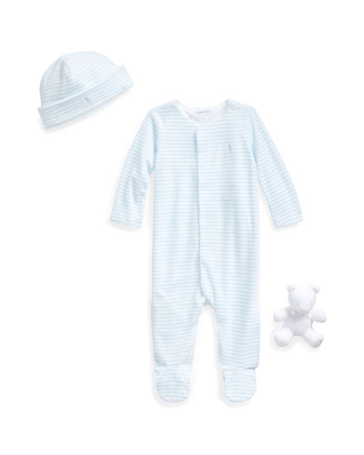 Striped Velour Footie Pajamas w/ Baby Hat & Bear, Size 3-9 Months
