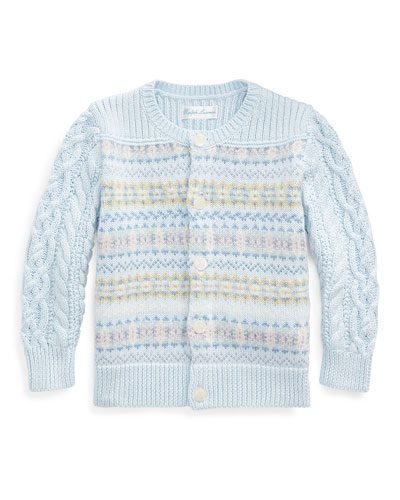 Fair Isle Cable-Knit Cotton/Wool Sweater, Size 6-24 Months