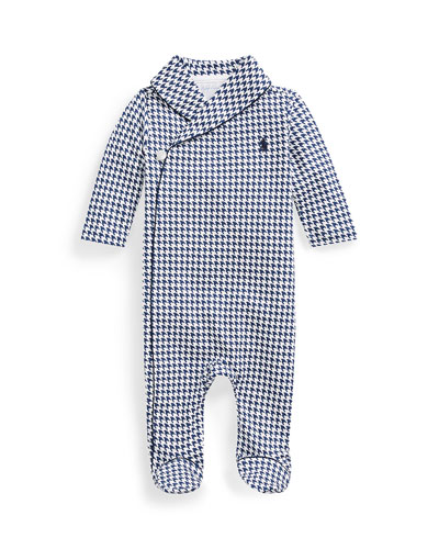 Long-Sleeve Shawl-Collar Houndstooth Footie Pajamas, Size 3-9 Months