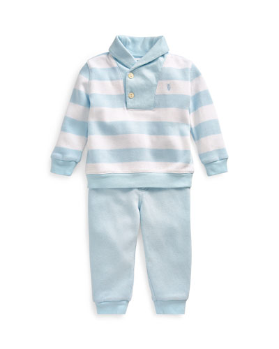 French Rib Rugby Shawl Collar Sweater w/ Joggers, Size 6-24 Months