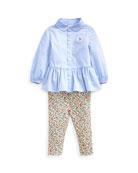 Ralph Lauren Childrenswear Peplum Oxford Shirt w/ Floral
