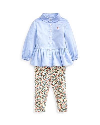Peplum Oxford Shirt w/ Floral Leggings, Size 6-24 Months