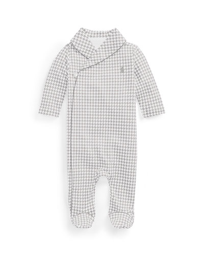 Long-Sleeve Shawl-Collar Houndstooth Footie Pajamas, Gray, Size 3-9 Months
