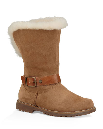 Nessa Suede Boots w/ Exposed Sheepskin Shaft, Baby/Toddler
